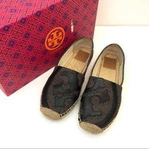 bcce96162 Tory Burch Shoes - Tory Burch Lonnie Logo Woven Espadrille Flat